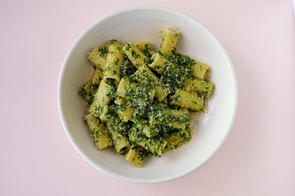 Pitfire's Rigatoni with Kale and Walnut Pesto.