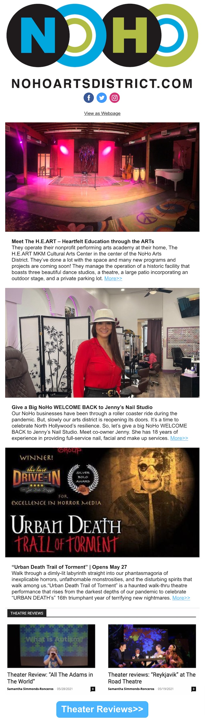"""NoHo News: The H.E.ART MKM Cultural Arts Center. Female Film Directors You Should Know. Jenny's Nail Studio. Urban Death Trail of Torment. The """"Magic"""" of Reykjavík. Dim Sum at Tamashii. NoHo Vaccines. #KeepNoHoArtsy."""